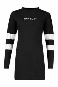 Womens Sleeve Stripe Essentials T-Shirt Dress - black - 14, Black
