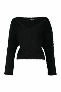 Womens Soft Touch V Neck Jumper - black - M, Black