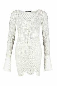Womens Crochet Knit Plunge Tassel Detail Mini Dress - white - M, White