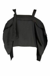 Womens Satin Knot Detail Cold Shoulder Top - black - 14, Black