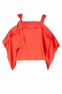 Womens Satin Knot Detail Cold Shoulder Top - red - 14, Red