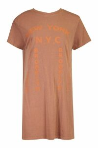 Womens Tonal Printed Washed T-Shirt Dress - brown - 10, Brown
