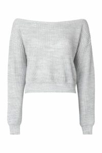 Womens Tall Slash Neck Crop Fisherman Jumper - grey - M, Grey