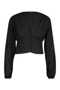 Womens Volume Sleeve Button Detail Woven Blouse - black - 12, Black