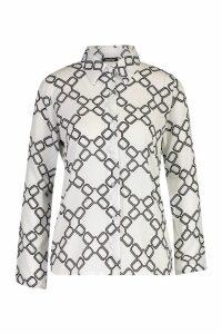 Womens Chain Print Shirt - white - 14, White