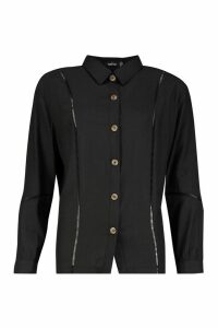 Womens Woven Ladder Trim Detail Shirt - black - 14, Black