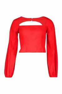 Womens Woven Square Neck Oversized Sleeve Top - red - 12, Red