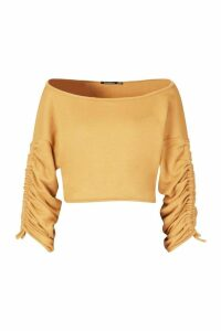 Womens Ruched Sleeve Crop Sweatshirt - beige - 14, Beige