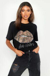 Womens Leopard French Slogan Lips T-Shirt - black - M, Black