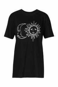 Womens Sun and Moon Printed T-Shirt - black - M, Black
