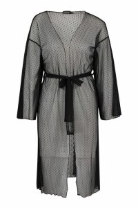 Womens Dobby Mesh Midi Kimono - black - M, Black