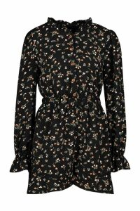 Womens Ditsy Floral Ruffle Playsuit - black - 16, Black