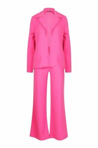 Womens Tailored Blazer Suit Co-ord - Pink - 16, Pink