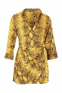 Womens Snake Print Shirt Style Playsuit - yellow - 16, Yellow