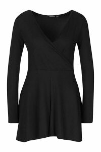 Womens Wrap Front Long Sleeve Ribbed Playsuit - black - 12, Black