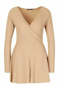 Womens Wrap Front Long Sleeve Ribbed Playsuit - beige - 16, Beige