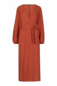 Womens Polka Dot Maxi Woven Belted Kimono - orange - S, Orange