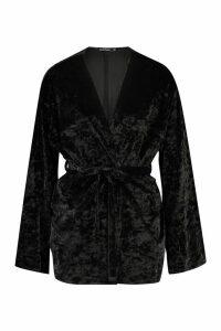 Womens Velvet Belted Kimono - black - M, Black