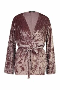 Womens Velvet Belted Kimono - beige - M, Beige