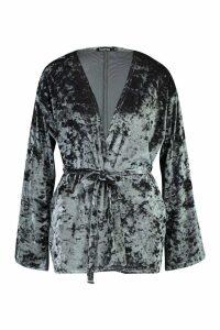 Womens Velvet Belted Kimono - green - M, Green