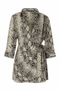 Womens Snake Print Shirt Style Playsuit - beige - 16, Beige