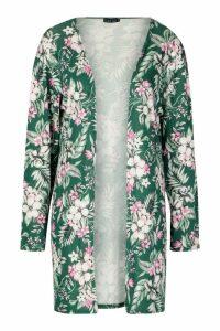 Womens Floral Print Midi Kimono - green - M/L, Green
