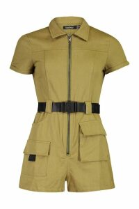 Womens Utility Belted Playsuit - green - 14, Green