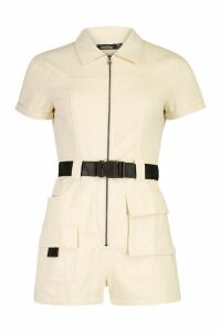 Womens Utility Belted Playsuit - beige - 14, Beige