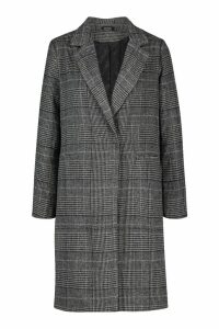 Womens Check Collared Wool Look Coat - grey - 14, Grey
