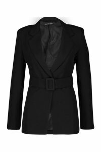 Womens Self Belt Detail Tailored Blazer - black - 14, Black