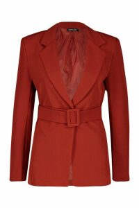 Womens Self Belt Detail Tailored Blazer - orange - 14, Orange