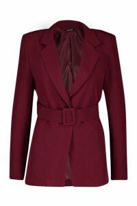 Womens Self Belt Detail Tailored Blazer - maroon - 14, Maroon