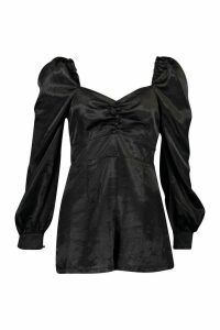 Womens Blouson Sleeve Satin Playsuit - black - 16, Black
