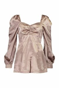 Womens Blouson Sleeve Satin Playsuit - oyster - 16, Oyster