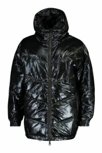 Womens Strap Detail High Shine Puffer Jacket - black - 14, Black