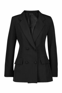 Womens Woven Double Breasted Pocket Detail Blazer - black - 12, Black