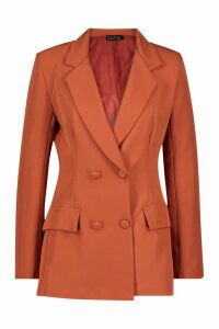 Womens Woven Double Breasted Pocket Detail Blazer - orange - 14, Orange