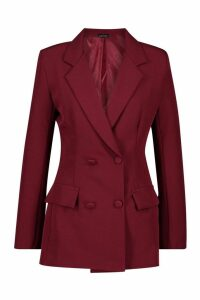 Womens Woven Double Breasted Pocket Detail Blazer - maroon - 14, Maroon