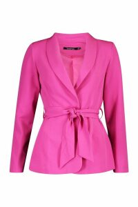 Womens Single Breasted Belted Blazer - pink - 12, Pink