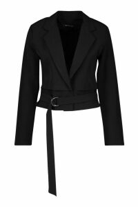 Womens Cropped Utility Belted Blazer - black - 14, Black