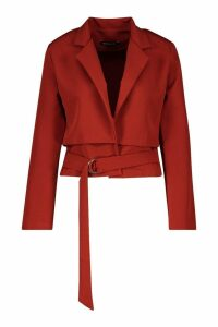 Womens Cropped Utility Belted Blazer - orange - 14, Orange
