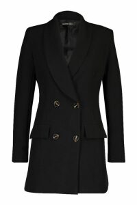 Womens Double Breasted Oversize Blazer - black - 14, Black