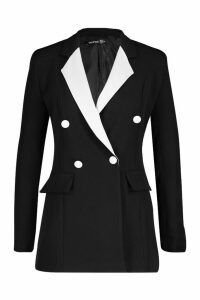 Womens Contrast Collar Double Breasted Blazer - black - 14, Black