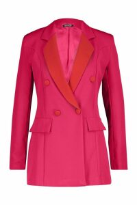 Womens Contrast Collar Double Breasted Blazer - Pink - 14, Pink