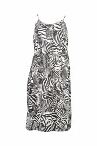 Womens Woven Zebra Print Strappy Sundress - black - L, Black