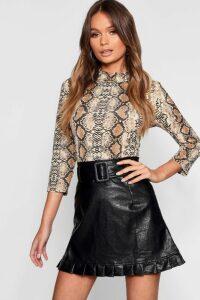 Womens Belted PU Frill Hem Leather Look Mini Skirt - black - 14, Black