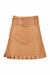 Womens Belted PU Frill Hem Leather Look Mini Skirt - beige - 14, Beige