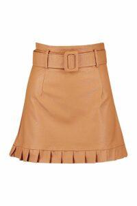 Womens Belted PU Frill Hem Leather Look Mini Skirt - beige - 12, Beige
