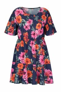 Womens Plus Tiered Woven Floral Smock Dress - navy - 20, Navy