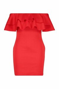 Womens Plus Bardot Ruffle Mini Dress - red - 20, Red